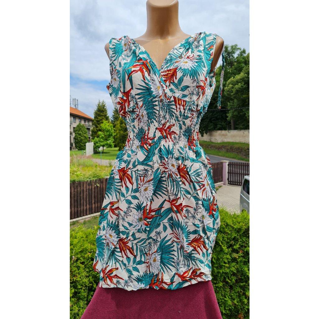 Dámské krátké šaty Y281 - bílo azurové