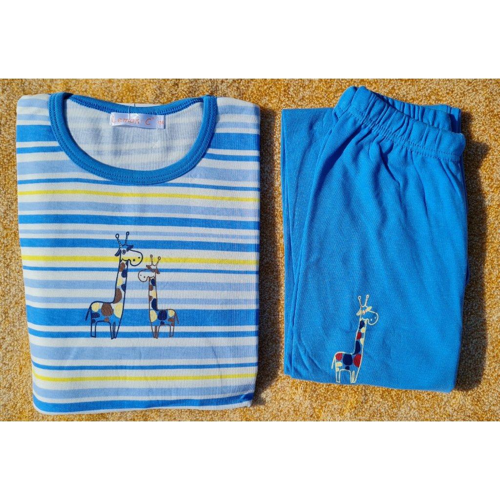 Dívčí pyžamo s dlouhým rukávem FH0109 žirafa - modré