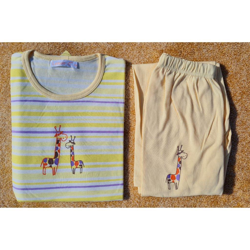 Dívčí pyžamo s dlouhým rukávem FH0109 žirafa - žlutá