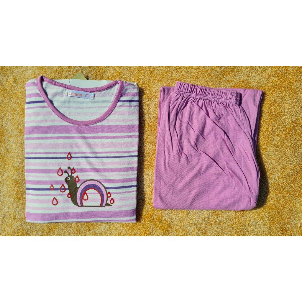Dívčí pyžamo s dlouhým rukávem FH0007 šnek - růžové