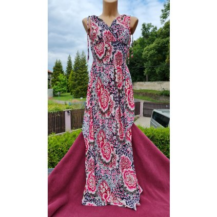 Dámské letní dlouhé šaty 9916 oblý vzor - růžovo-červené