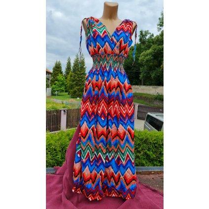 Dámské letní dlouhé šaty Y283 šípový vzor - červené