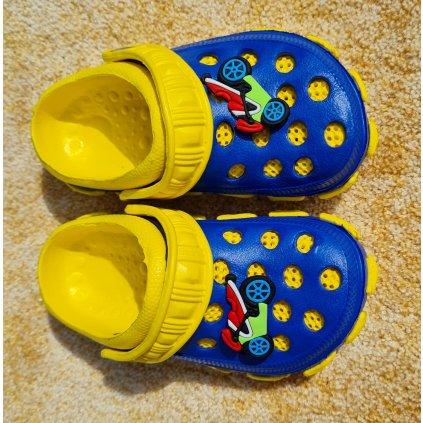 Dětské gumové sandále - modro žluté