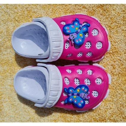 Dětské gumové sandále - tmavě růžovo bílé