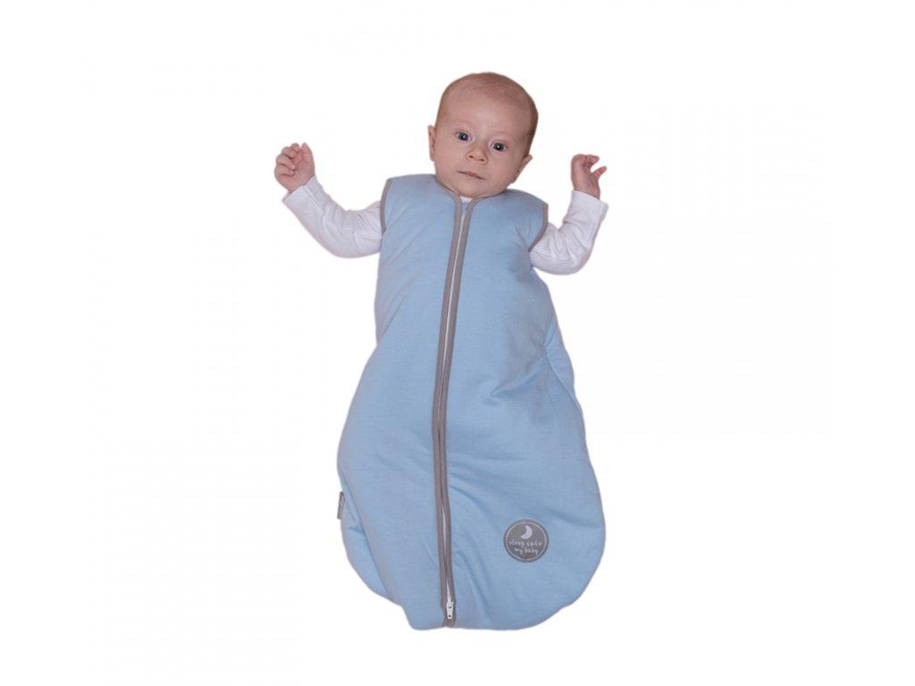 Natulino letní spací pytel pro miminko, NATURAL BLUE / WARM GREY, 1vrstvý, N (0 - 3 měsíce)