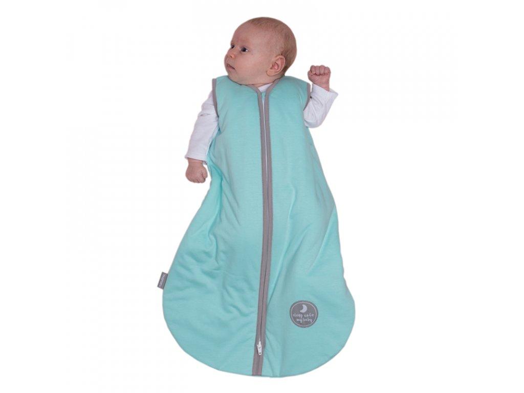 Natulino extra tenký letní dětský spací pytel, MINT / GREY, 1vrstvý, M (6 - 12 měsíců)