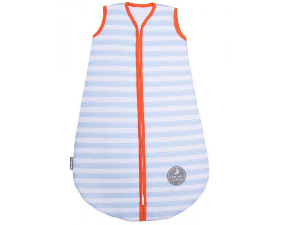Natulino extra tenký letní dětský spací pytel, BLUE STRIPES / ORANGE, 1vrstvý, M (6 - 12 měsíců)
