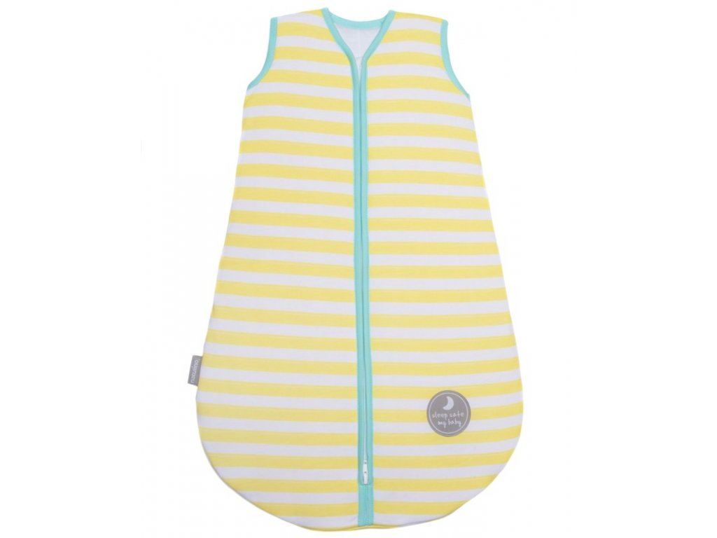 Natulino extra tenký letní dětský spací pytel, YELLOW STRIPES / MINT, 1vrstvý, L (12 - 18 měsíců)