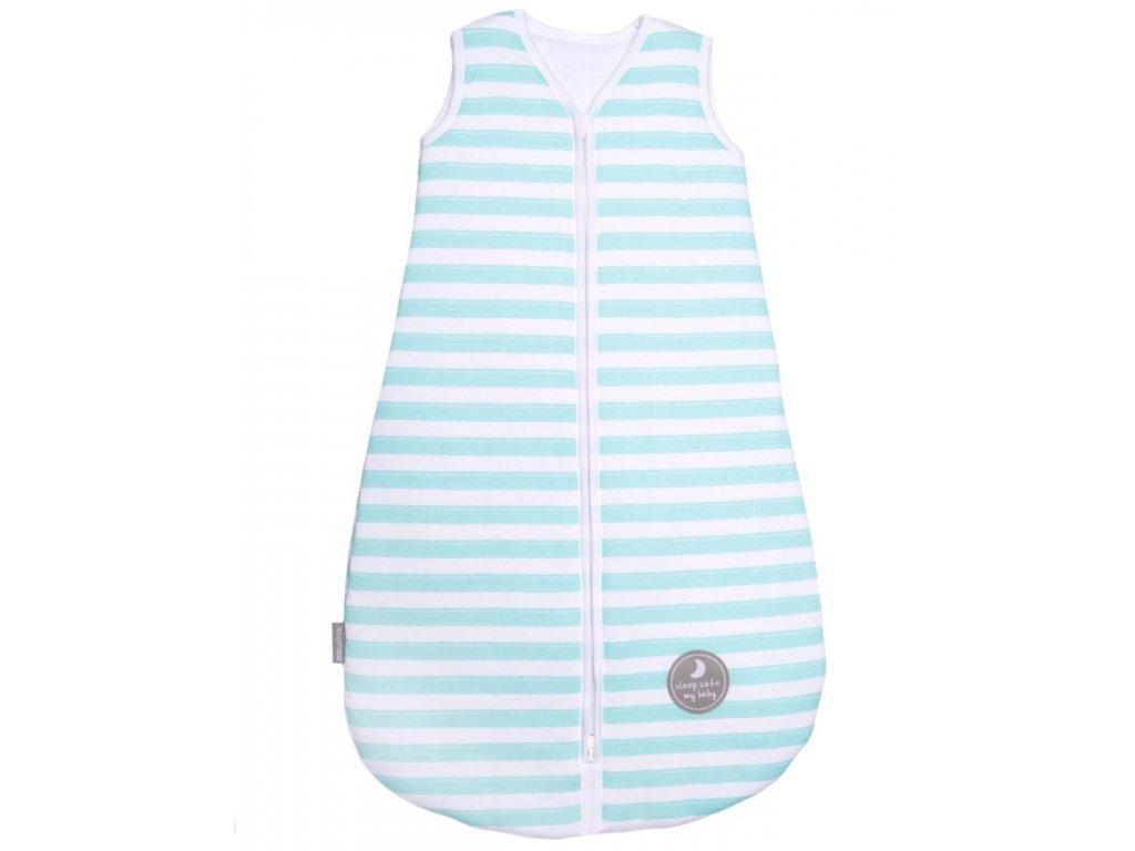 Natulino extra tenký letní dětský spací pytel, MINT STRIPES / WHITE, 1vrstvý, L (12 - 18 měsíců)