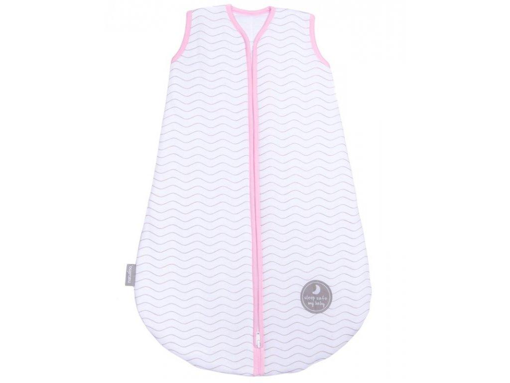 Natulino extra tenký letní dětský spací pytel, WHITE GREY WAVES / PINK, 1vrstvý, L (12 - 18 měsíců)