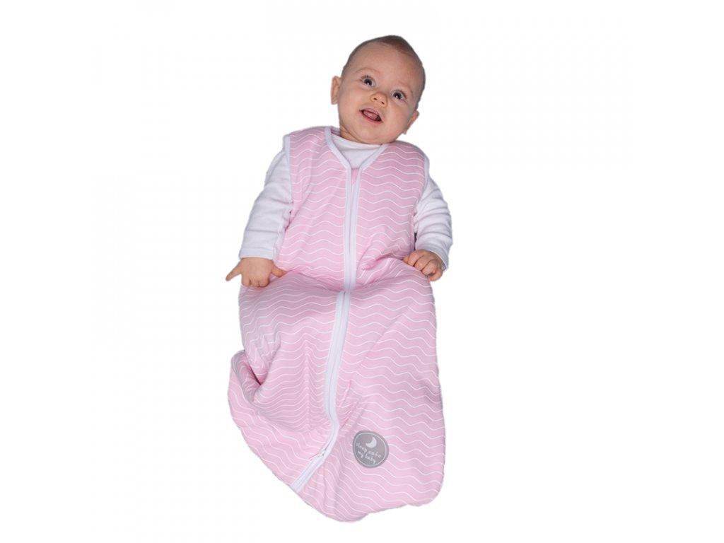 Natulino extra tenký letní dětský spací pytel, PINK WHITE WAVES / WHITE, 1vrstvý, M (6 - 12 měsíců)