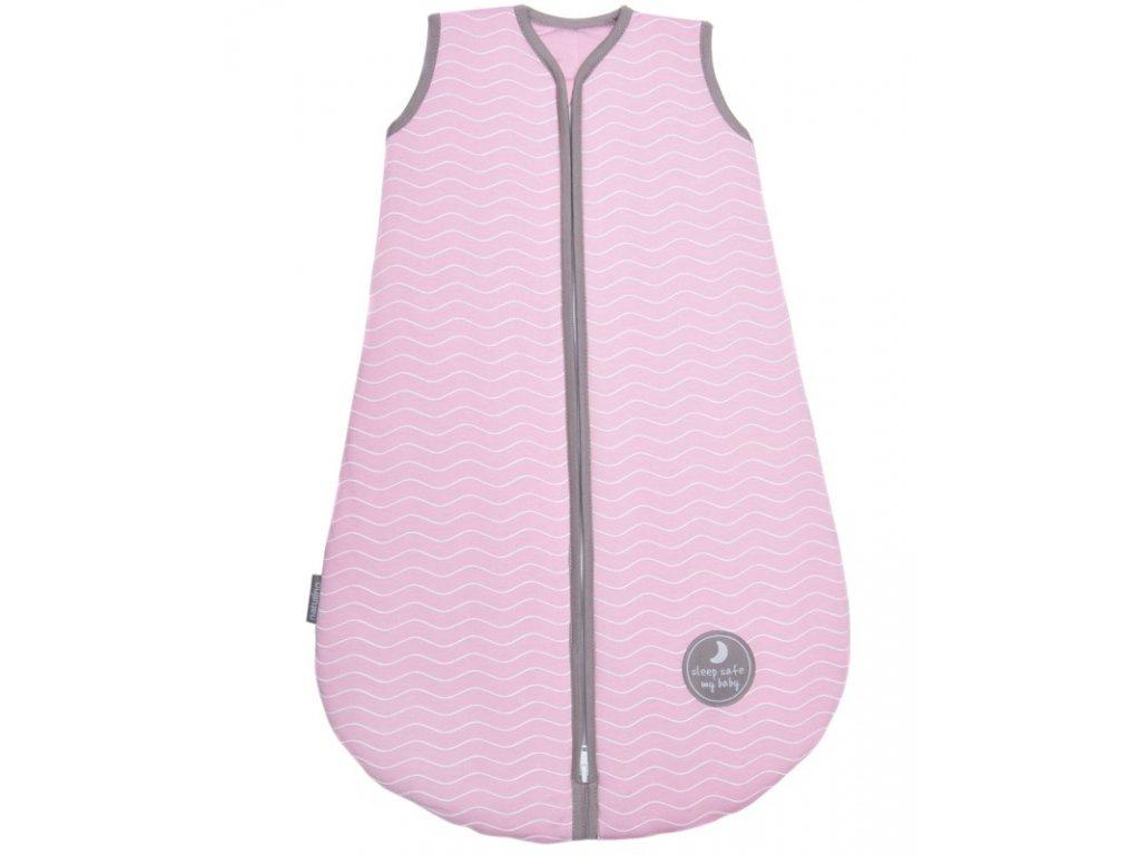 Natulino extra tenký letní dětský spací pytel, PINK WHITE WAVES / GREY, 1vrstvý, N (0 - 3 měsíce)