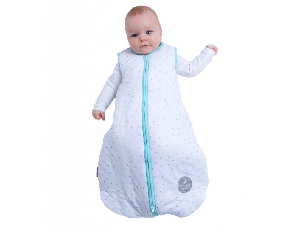 Natulino extra tenký letní dětský spací pytel, WHITE GREY LEAVES / MINT, 1vrstvý, S (0 - 6 měsíců)