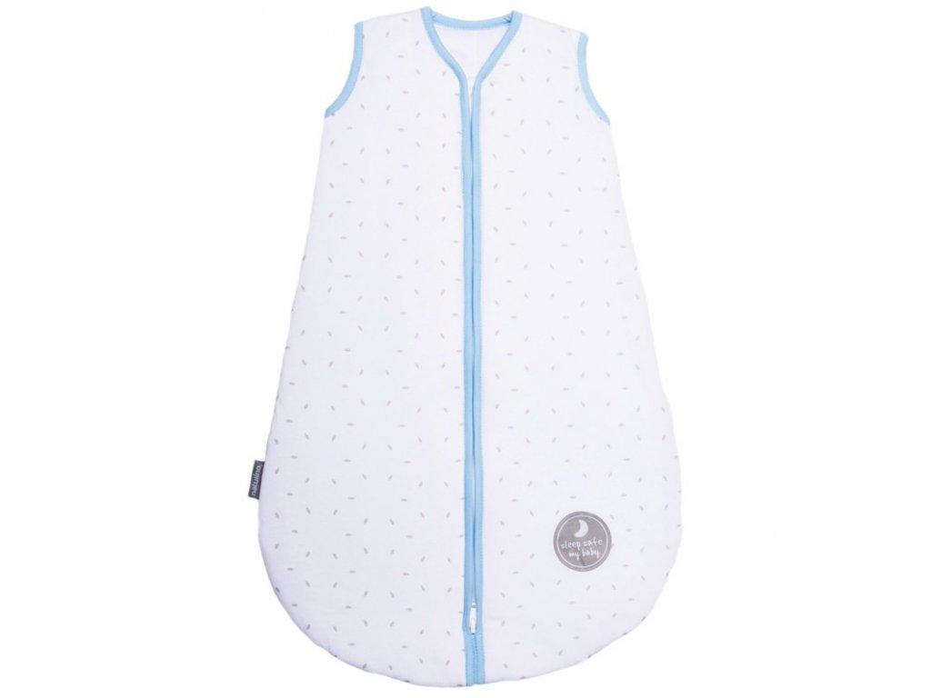 Natulino extra tenký letní dětský spací pytel,  White Grey Leaves / blue , 1vrstvý, S (0 - 6 měsíců)