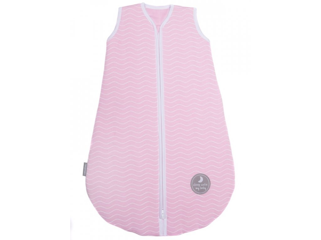 Natulino dětský spací pytel pro miminko, NATURAL PINK WHITE WAVES / WHITE, 2vrstvý, M (6 - 12 měsíců)