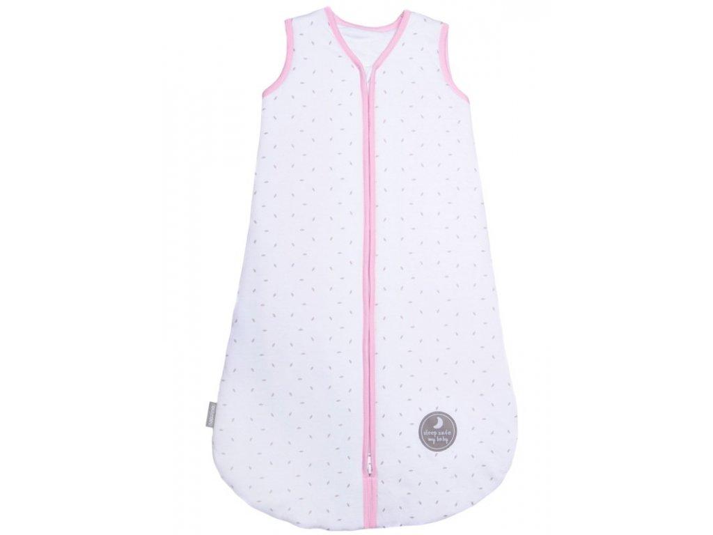 Natulino dětský spací pytel pro miminko, NATURAL WHITE GREY LITTLE LEAVES / PINK, 2vrstvý, S ( 0 - 6 měsíců)