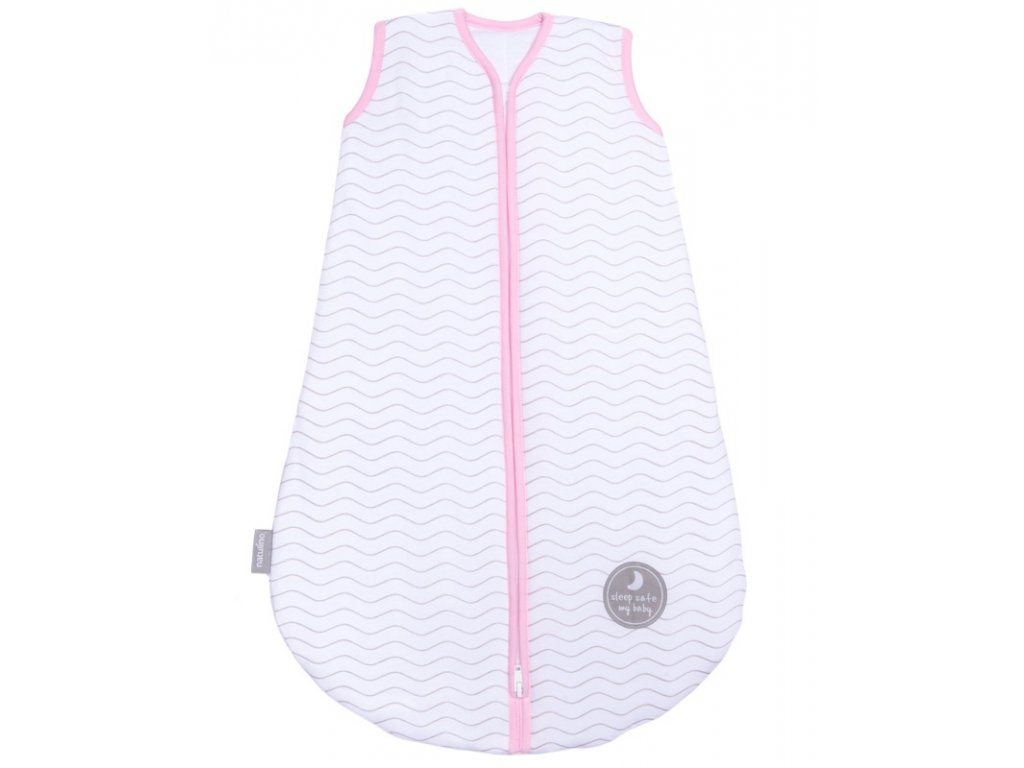 Zimní spací pytel pro miminko, NATURAL WHITE GREY WAVES / PINK, 3vrstvý, S (0 - 6měsíců)