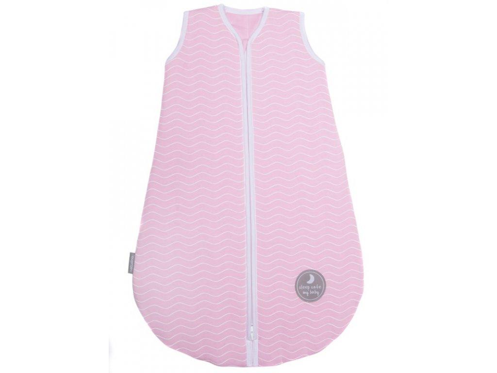 Zimní spací pytel pro miminko, NATURAL PINK WHITE WAVES / WHITE, 3vrstvý, M (6 - 12 měsíce), Zateplený