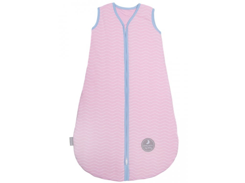 Zimní spací pytel pro miminko, NATURAL PINK WHITE WAVES / BLUE, 3vrstvý, S (0 - 6 měsíců)