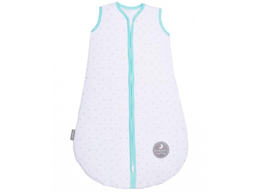 Zimní spací pytel pro miminko, NATURAL WHITE LITTLE GREY LEAVES / MINT, 3vrstvý, M (6 - 12 měsíců)
