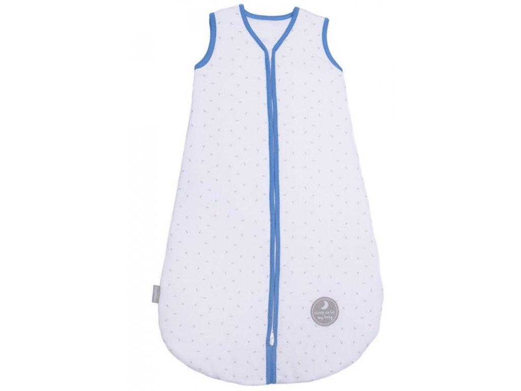Zimní spací pytel pro miminko, NATURAL WHITE LITTLE GREY LEAVES / NAVY, 3vrstvý, N (0 - 3 měsíce)