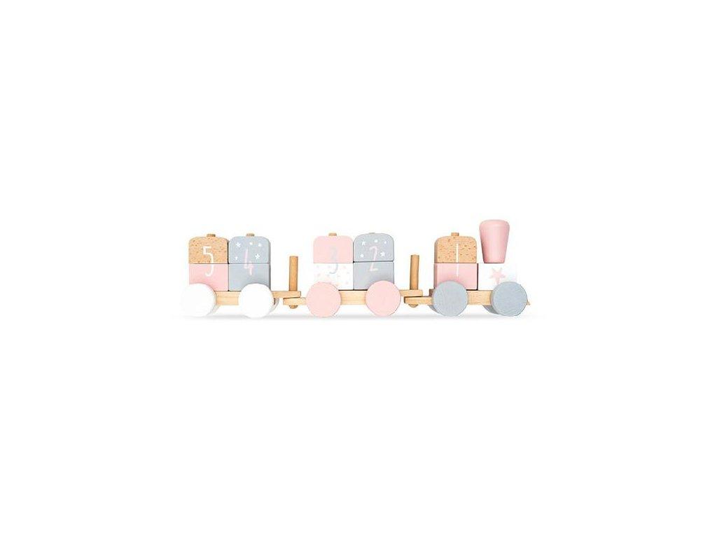 Jollein dřevěný vláček růžovo/šedý