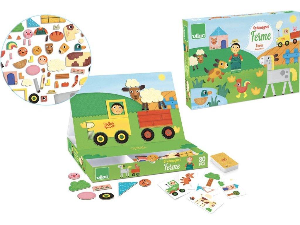 vilac drevena hra skladacia magneticka tabulka farma