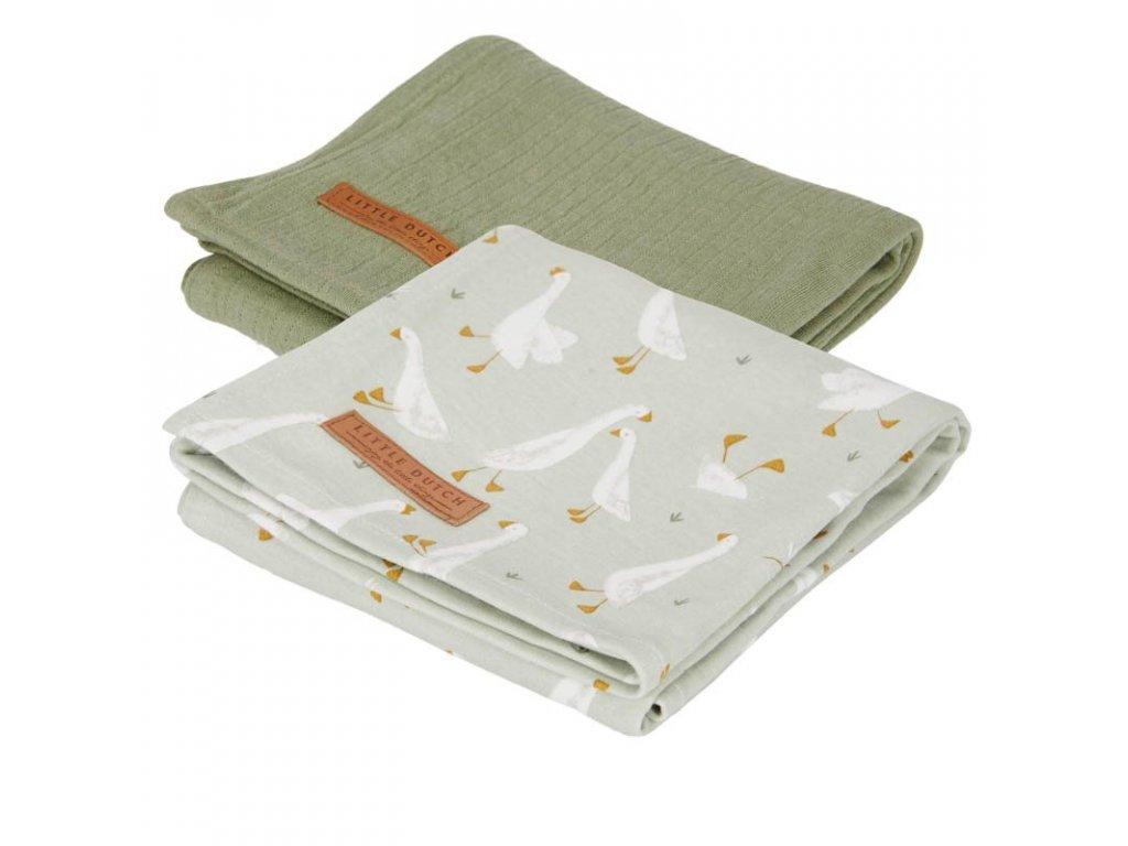 0012309 swaddle doeken 70 x 70 little goose pure olive