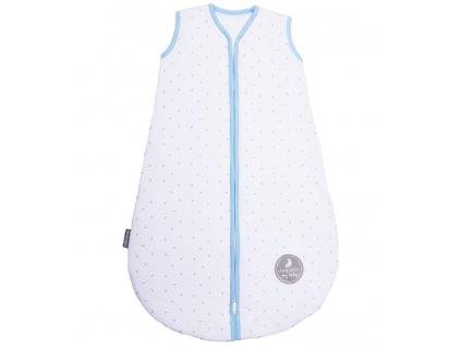 Natulino dětský letní spací pytel pro miminko,  Natural White Grey Little Leaves / blue , 1vrstvý, N (0 - 3 měsíce)