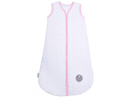 Natulino dětský spací pytel pro miminko, NATURAL WHITE GREY LITTLE LEAVES / PINK, 2vrstvý, M ( 6 - 12 měsíců)