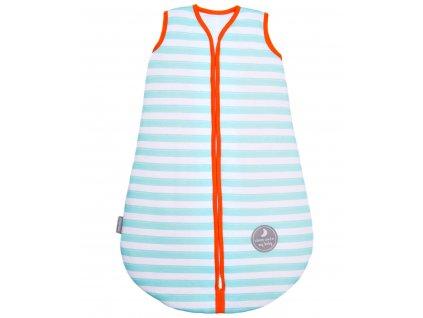 Zimní spací pytel pro miminko, MINT STRIPES / ORANGE, 3vrstvý, N (0 - 3 měsíce)