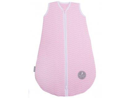 Zimní spací pytel pro miminko, NATURAL PINK WHITE WAVES / WHITE, 3vrstvý, N (0 - 3 měsíce)