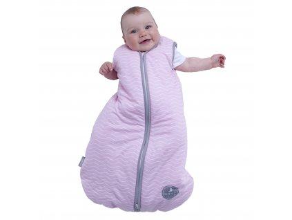 Zimní spací pytel pro miminko, NATURAL PINK WHITE WAVES / WARM GREY, 3vrstvý, N (0 - 3 měsíce)