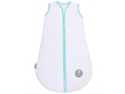 Zimní spací pytel pro miminko, NATURAL WHITE LITTLE GREY LEAVES / MINT, 3vrstvý, N (0 - 3 měsíce)