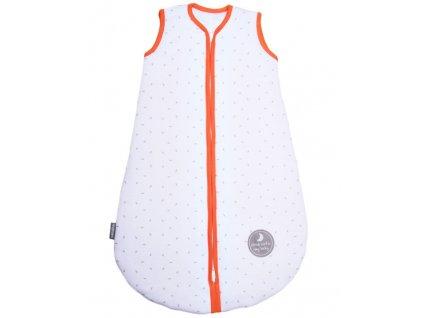Zimní spací pytel pro miminko, NATURAL WHITE LITTLE GREY LEAVES / ORANGE, 3vrstvý, N (0 - 3měsíce)