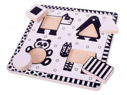 Bigjigs Toys Dřevěné vkládací puzzle černobílé tvary 1