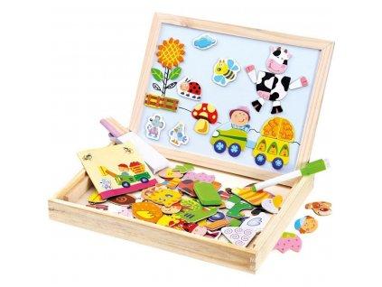 bino puzzle magneticka tabulka farma 102 ks