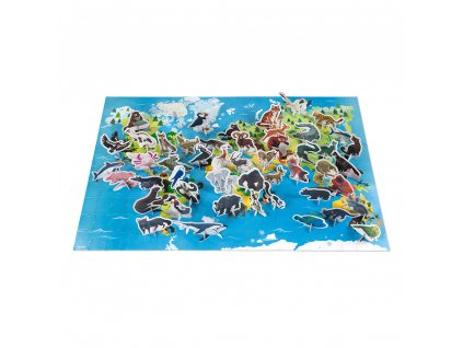 J02676 Janod vzdelavacie puzzle ohrozene zvieratka 200 ks 01