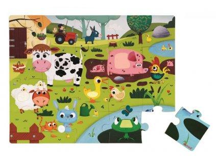 J02772 Puzzle dotykove Zvieratka na farme Janod s texturou 20 dielov od 3 6 rokov 3