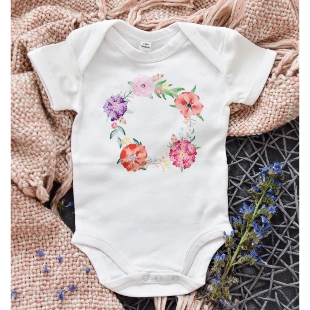 Dětské body s krátkým rukávem Květinový věnec