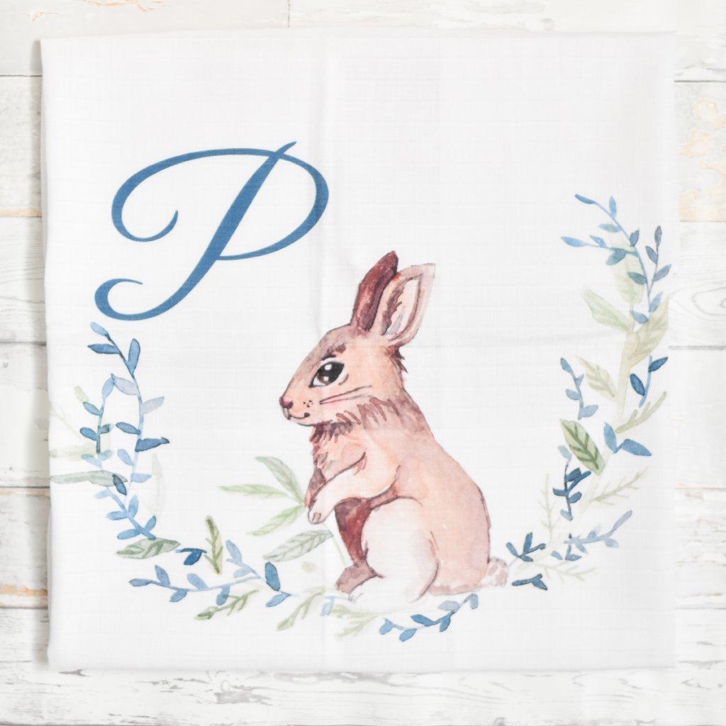 Látková plenka Zajíček - monogram P