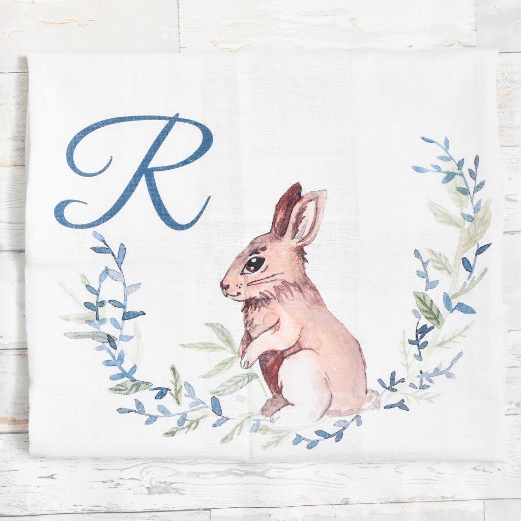 Látková plenka Zajíček - monogram R