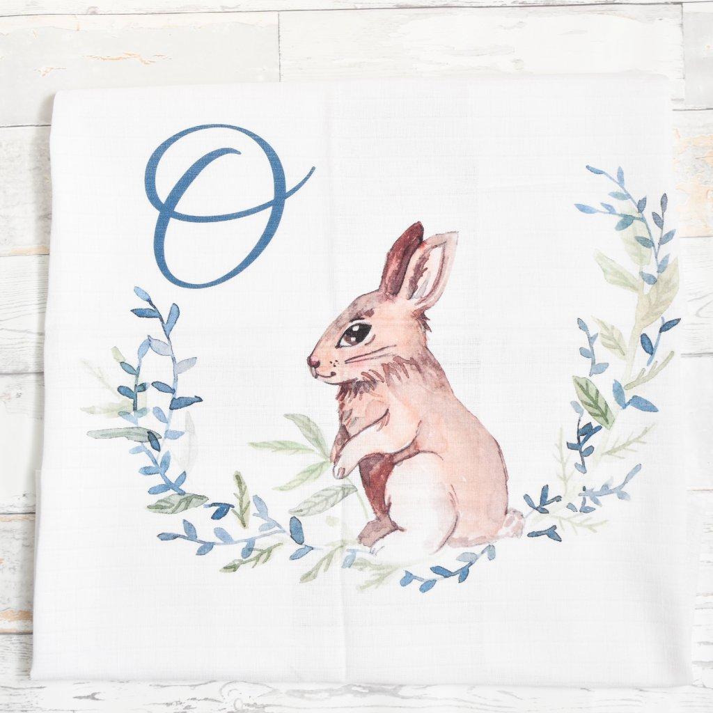 Látková plenka Zajíček - monogram O