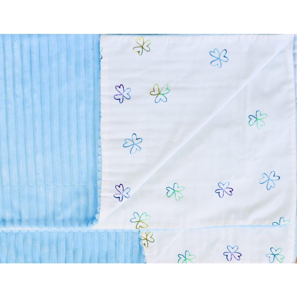 Velká oboustranná deka - Modrý čtyřlístek
