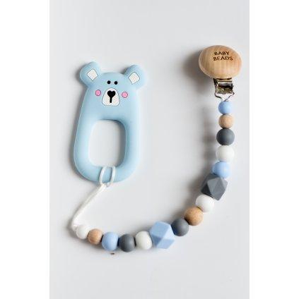 Klip na dudlík se silikonovým kousátkem BLUE Medvídek