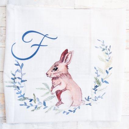Látková plenka Zajíček - monogram F