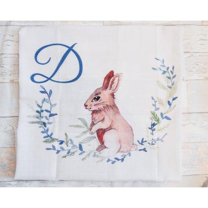 Látková plenka Zajíček - monogram D