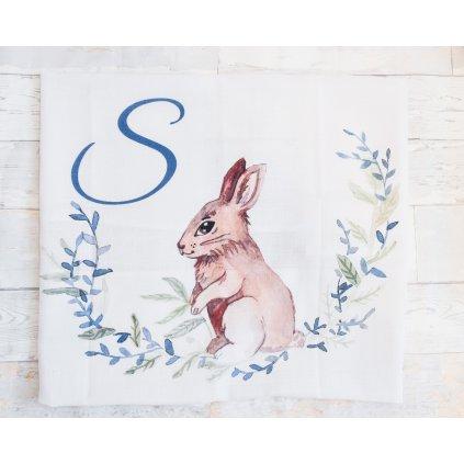 Látková plenka Zajíček - monogram S