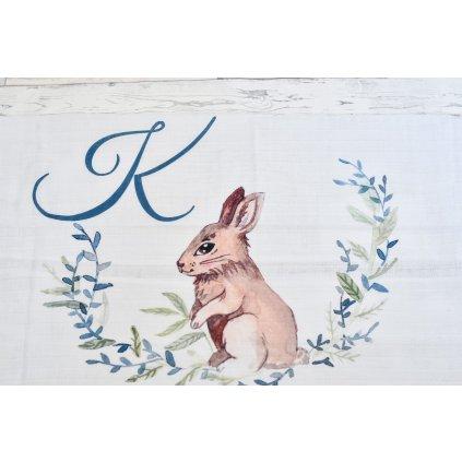 Látková plenka Zajíček - monogram K