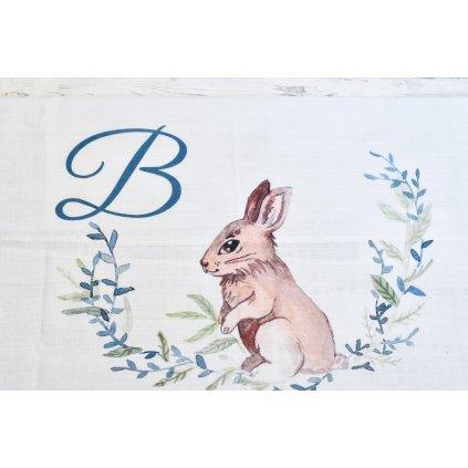 Látková plenka Zajíček - monogram B